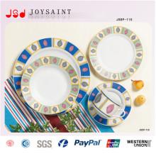Ensembles de dîner de forme ronde en gros simple de conception dans la vaisselle en porcelaine