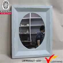 Рука резные светло-голубой Декоративные деревенском старинные деревянные Frame Зеркало