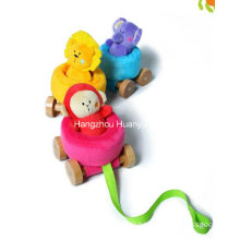 Factory Supply Plush Baby Pulling Car Toy