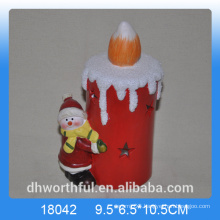 Candle shape ceramic christmas decoration with snowman figurine