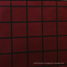 Plaid Print Suede Fabric for Garment