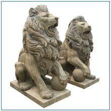 Antique Stone Animal Lion statue Sitting Lion