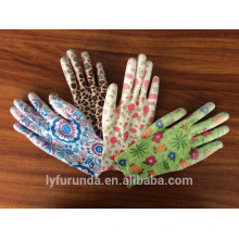 13 gauge colorful nylon gloves coated with pu palm