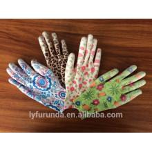 Luvas coloridas de nylon de 13 gauge revestidas com pu palm