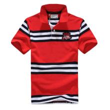 Fio de Algodão Tingido T-Shirt Listrada Polo para Homem