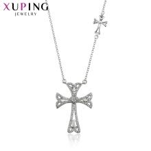 44559 Xuping cruz jóias projeto da cor de prata pingente de colar de jóias
