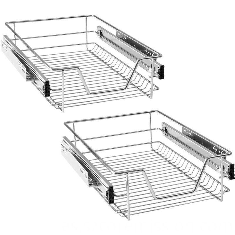 2x40cm Built-in Telescopic Pull-out Kitchen Drawer Basket