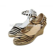 2016 высокий каблук клин сандалового леопарда конского волоса резиновый джут единственный женский башмак