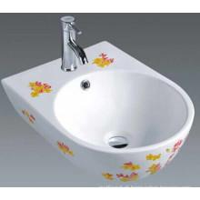 Bacia agradável da arte cerâmica do banheiro com flores (1006)