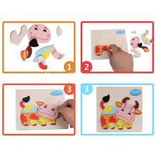 Intelligenza Bambini Educational Toy Cartone Animale Puzzle 3D in legno