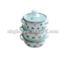 enamel casserole sets with glass lid and bakelite handle and knob