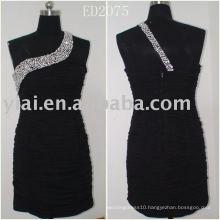 ED2075 Short Beaded Blace Prom Dress