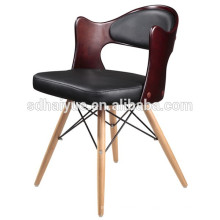 2017 Black PU Leather brown plywood Restaurant Chair Good Quality Dining Chair with Wooden Legs