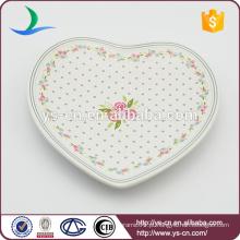 Loving Coração decalque prato de cerâmica para decoração
