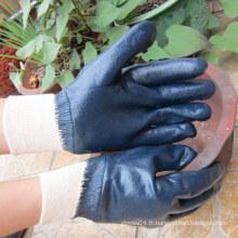 Gants en nitrile bleus entièrement trempés Gant protecteur de sécurité