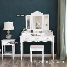 Vanity Table Set Tri-folding Necklace Hooked Mirror 7 Drawers 6 Organizers dresser makeup table