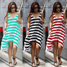 Hot Sale Women Fashion Irregular Strips Casual Beach Dress