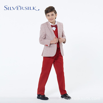Red Party Wear Costumes de smoking pour enfants Blazer pour garçons