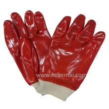 Gants en PVC rouge entièrement trempés Gant de travail industriel de sécurité