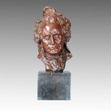 Bustos Figura de Arte Escultura de Bronce Músico Estatua de Latón de Beethoven TPE-334