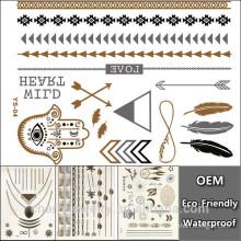 OEM Sex Body Beauty Maker Produits Tatouage temporaire Hot Sale Mode Design Bracelets Bijoux Metallic Tattoo autocollant personnalisé