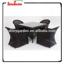 Conjunto de mesa y silla de ratán de aluminio 5pcs, juego de comedor de restaurante, muebles de sofá de ratán 5pcs