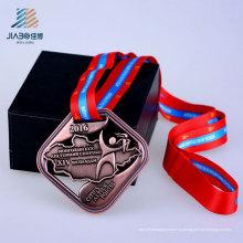 2016 Оптовая сплава Выдалбливают школа бронзовый изготовленный на заказ медаль с лентой