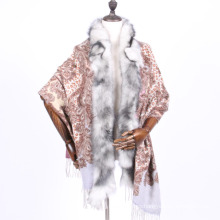 Chal de bufanda de cachemira 100% con ribete de piel