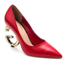Women's Pumps Strange Heel Red Genuine Leather Ladies Women Custom Dress Shoes Heels For Women and Ladies