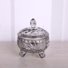 Smoky grey glass candy jar with leg