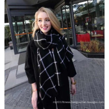 New Autumn and Winter Imitation Cashmere Couples Black Plaid Scarf