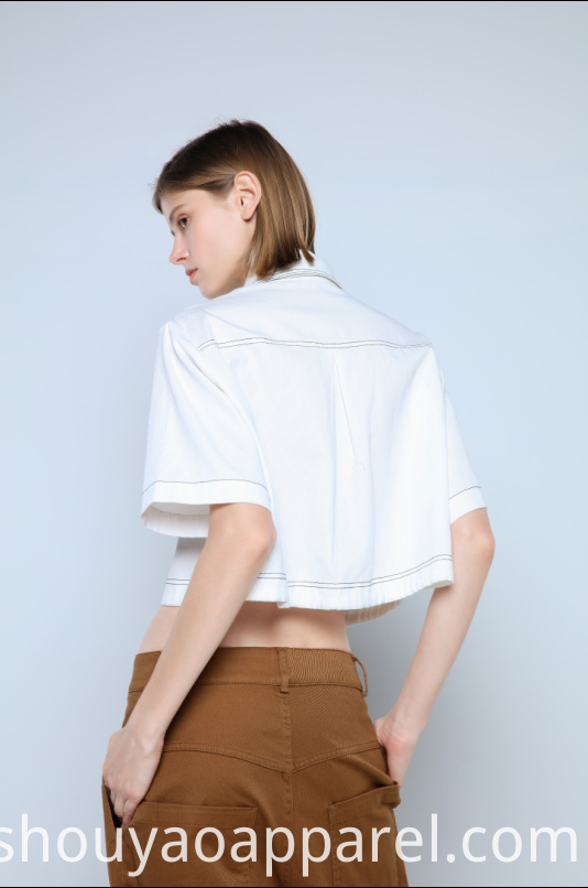CROPPED BLOUSE WITH BOTTOM DRAWSTRINGS