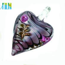 lampwork murano coração pingentes de vidro pingentes de esmalte claro