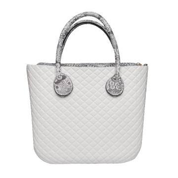 Diamond White Classic Zipper Top Strand Tote Handtaschen