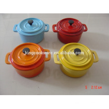 round/oval cast iron mini casserole /cookware/pot with enamel coating