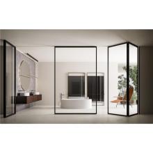 Economical frameless sliding folding glass curtain style balcony partitions doors