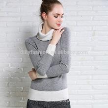 Camisola de cashmere com gola de colarinho duplo malha de malha camisola de moda coreana
