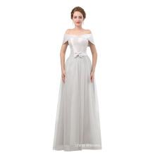 Grey evening dress 2018 custom made off shoulder women evening dress with floor length
