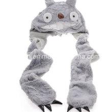 Totoro Scarf Hat Gants Intégré Plush