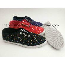 Sapatas da injeção da lona das mulheres do Laço-acima da cor completa com preço barato, Loafer dos calçados