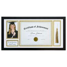 10x20 Custom Black Document Shadow Box Frame for Graduation Tassel Solid Pine Wood Double Gold White Mat