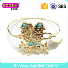 Double Birds 18k Gold Plated Metal Wire Bangle Fashion Bracelet #31190