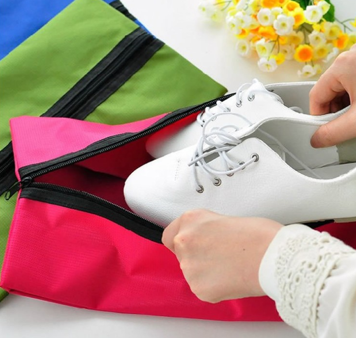 Water Resistant Nylon Shoe Zipper Bag