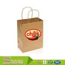 Guangzhou Factory Manufacture Food Take Away Shopping Carry Packaging Brown Kraft Paper Bags Supermarket