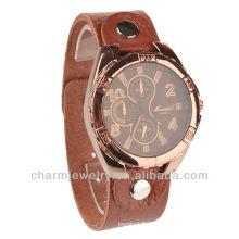 Moda cuarzo de cuero genuino color marrón reloj de pulsera para los hombres wl-018