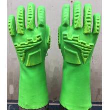 Зеленые перчатки из ПВХ с TPR на тыльной стороне руки