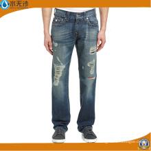 2016 nouveau jean droit déchiré jeans hommes mode Jean pantalon