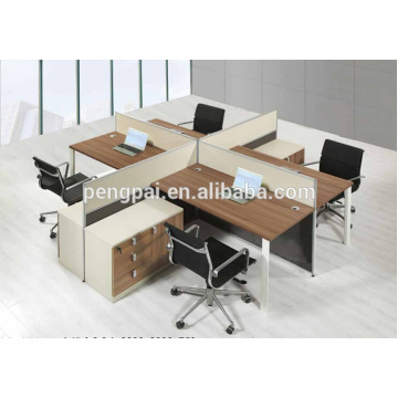Square 4 seater melamine wooden workstation 01