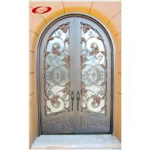 Puerta clásica elegante con detalles en hierro forjado