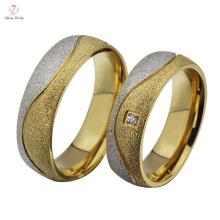Anneaux de mariage d'or de la mode 2015 de l'acier inoxydable 18K, bijoux de mariage d'or de créateur de Matt anneaux